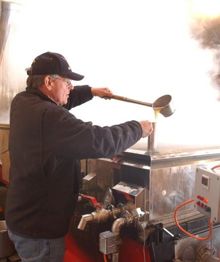 Ray Morvan making syrup at Sweet Retreat Sugarworks